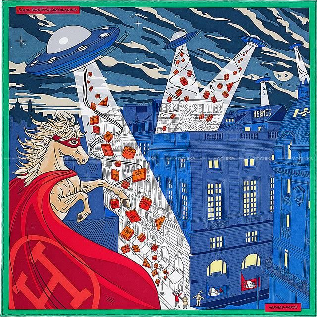 Hermes Square Silk Scarf 'Space Shopping au Faubourg' Twill 90cm x 90cm - N