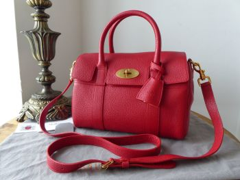 Mulberry Classic Small Bayswater Satchel in Scarlet Small Classic Grain & Felt Liner