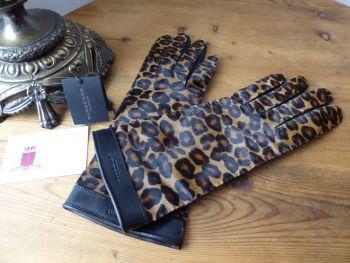 Burberry Prorsum 'Jenny' Ladies Gloves in Black Glazed Goatskin & Leopard Printed Calf Hair - New