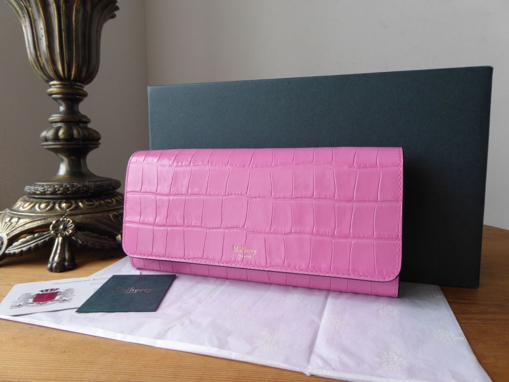 Mulberry Continental Wallet Purse in Raspberry Pink Shiny Croc Embossed Lea