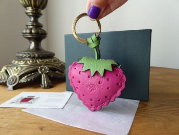 Mulberry Strawberry Keyring Bag Charm in Glossy Goat Leather Sold