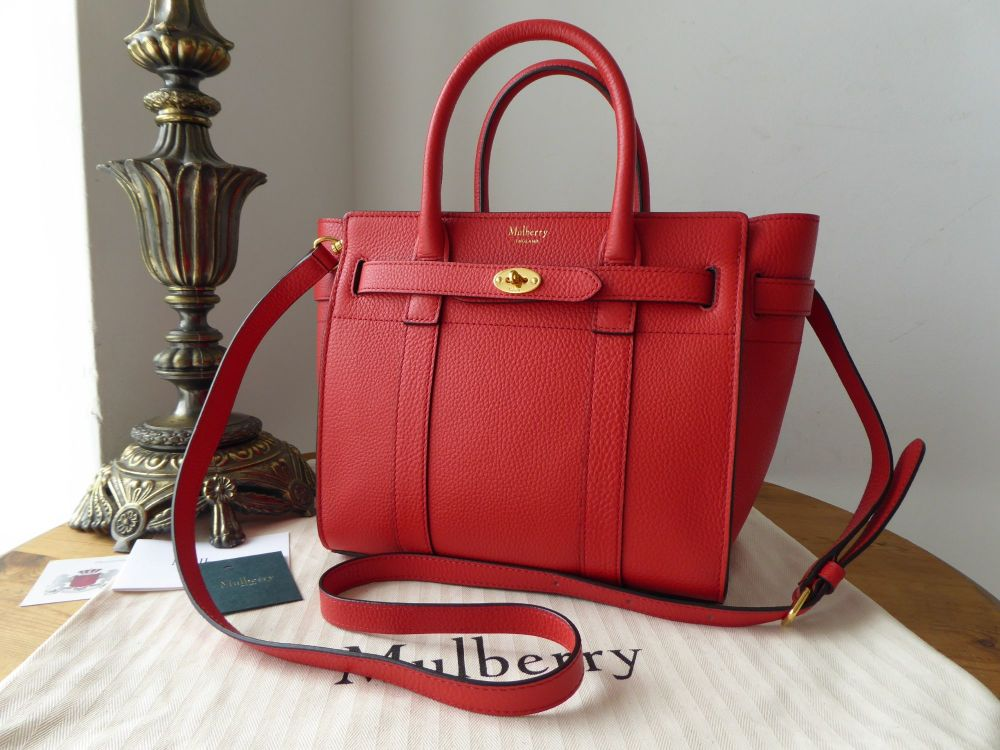 Mulberry Mini Zipped Bayswater in Hibiscus Red Small Classic Grain - As New