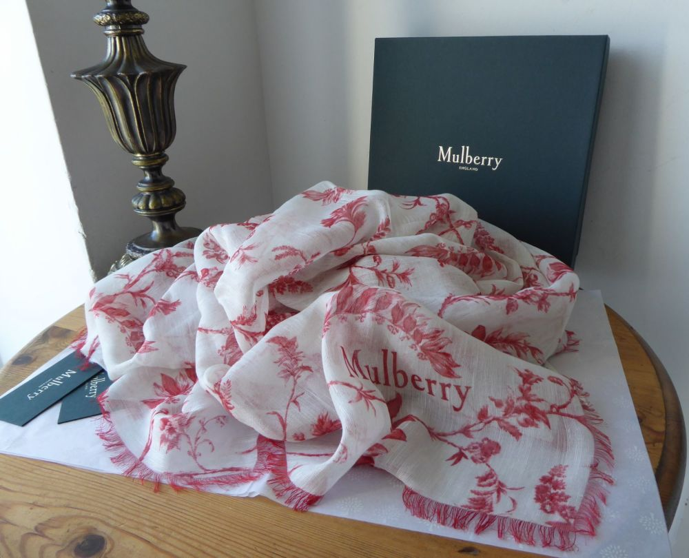 Mulberry Solomon's Seal Square Printed Wrap Scarf in Antique Ruby Modal Lin