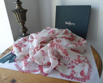 Mulberry Solomon's Seal Square Printed Wrap Scarf in Antique Ruby Modal Linen Silk Mix - New