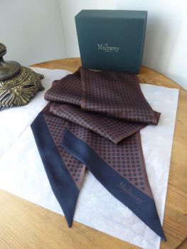 Mulberry Polka Dots Large Twilly Bag Scarf in Chocolate and Navy