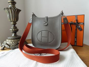 Hermés Evelyne III TPM Mini 16 in Etain Grey Taurillon Clemence Amazone with Copper Strap