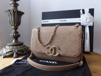 Chanel CC Small Flap Bag in Triple Stitched Chevron Beige Calfskin