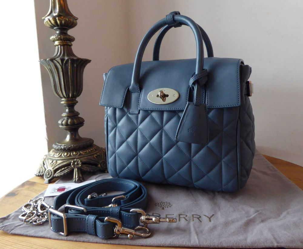 Mulberry Cara Delevingne Mini Backpack in Steel Blue Quilted Lamb Nappa