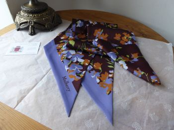 Mulberry Large Bouquet Floral Large Twilly Bag Scarf in Lilac - SOLD