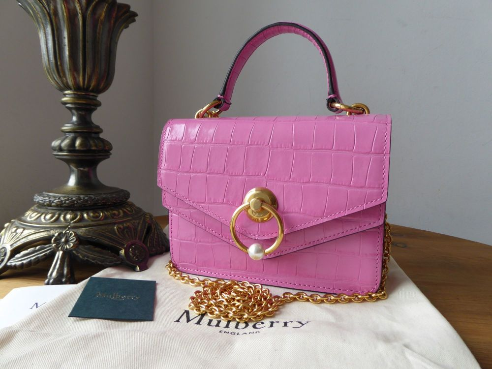 Mulberry Small Harlow Satchel with Pearl in Raspberry Pink Shiny Croc Embos