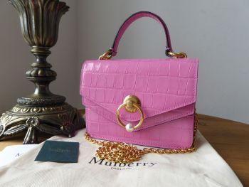 Mulberry Small Harlow Satchel with Pearl in Raspberry Pink Shiny Croc Embossed Leather - New