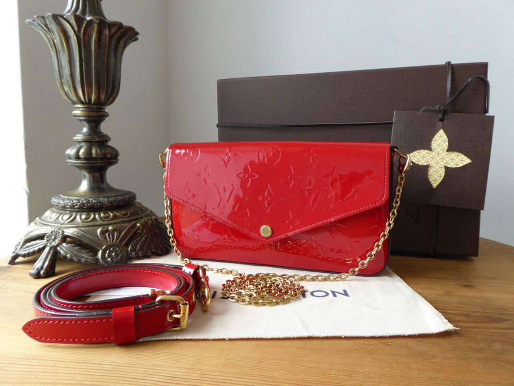 Louis Vuitton Pochette Félicie in Cerise Red Monogram Vernis