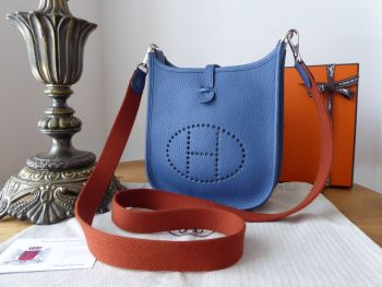Hermés Evelyne III TPM Mini 16 in Agate Blue Taurillon Clemence with Copper Strap