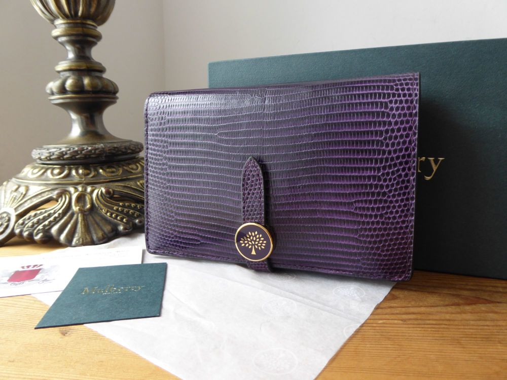 Mulberry Tree Medium Purse Wallet in Dark Violet Embossed Lizard Printed Le