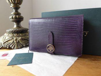 Mulberry Tree Medium Purse Wallet in Dark Violet Embossed Lizard Printed Leather - SOLD