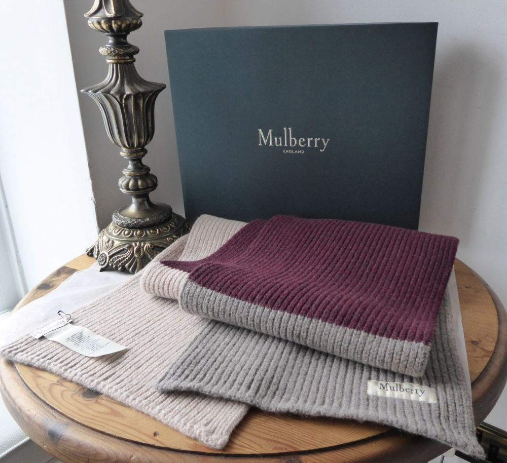 Mulberry Unisex Ribbed Knitted Winter Rectangular Scarf in Tri Colour Block
