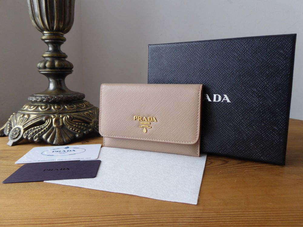 Prada Card Holder Wallet and Credit Card Slip Case in Cammeo Saffiano - New