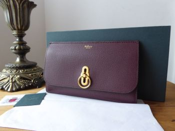 Mulberry Amberley Large Long Wallet in Oxblood Cross Grain Leather - New*