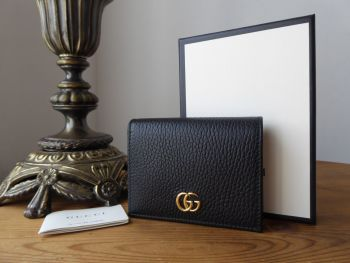 Gucci GG Marmont Small Card Case Purse Wallet in Black Grained Calfskin