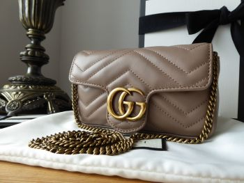 Gucci GG Marmont Super Mini Bag in Porcelain Rose Matelassé Calfskin