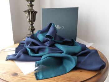 Mulberry Signature Letters Logo Jacquard Rectangular Scarf in Ocean Green Silk Mix  - New