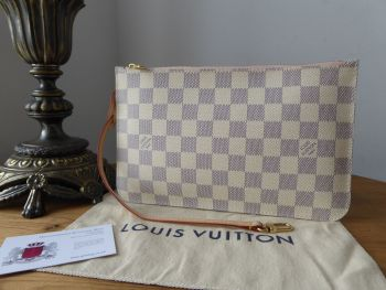 Louis Vuitton Zip Pochette Pouch Wristlet from Neverfull GM in Damier Azur with Rose Ballerine Lining