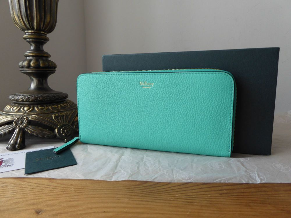 Mulberry 8 Card Zip Around Wallet Purse in Persian Green Small Classic Grai