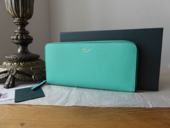Mulberry 8 Card Zip Around Wallet Purse in Persian Green Small Classic Grain - New