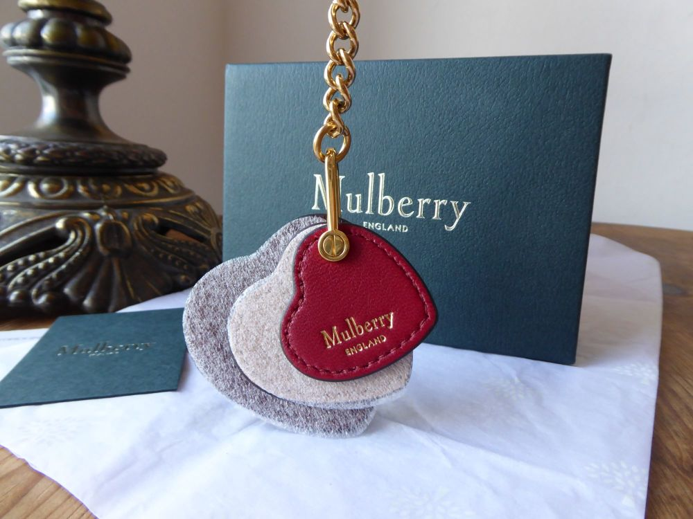 Mulberry Heart Leather Keyring Bag Charm in Crimson, Rosewater and Scarlet