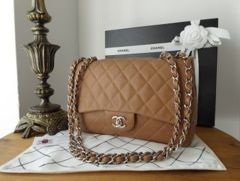 Chanel Classic Jumbo Single Flap in Tan Soft Caviar Leather with Shiny Silver Hardware