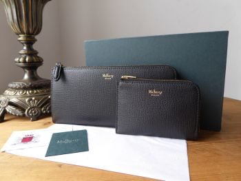 Mulberry Long Part Zip Around Continental Wallet Purse and Coin Purse in Black Crossgrain Leather New