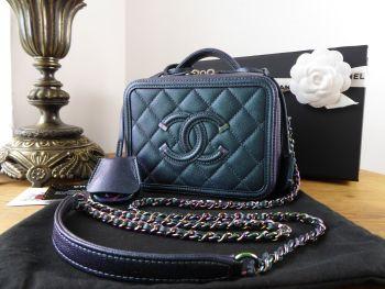 Chanel Filigree Mini Vanity Case in Iridescent Turquoise Mermaid Rainbow Caviar - New*
