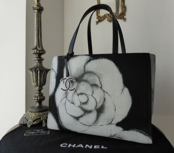 Chanel Limited Edition Large Shoulder Tote in Camellia Printed Canvas and Leather