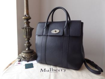 Mulberry Bayswater Backpack in Midnight Blue Small Classic Grain with Brushed Silver Hardware