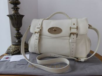 Mulberry Regular Alexa Satchel in Cream Silky Classic Calf Leather
