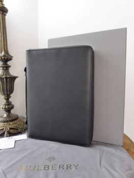 Mulberry Large Zip Around Documents Folio Folder in Black Classic Printed Calf Leather - New*