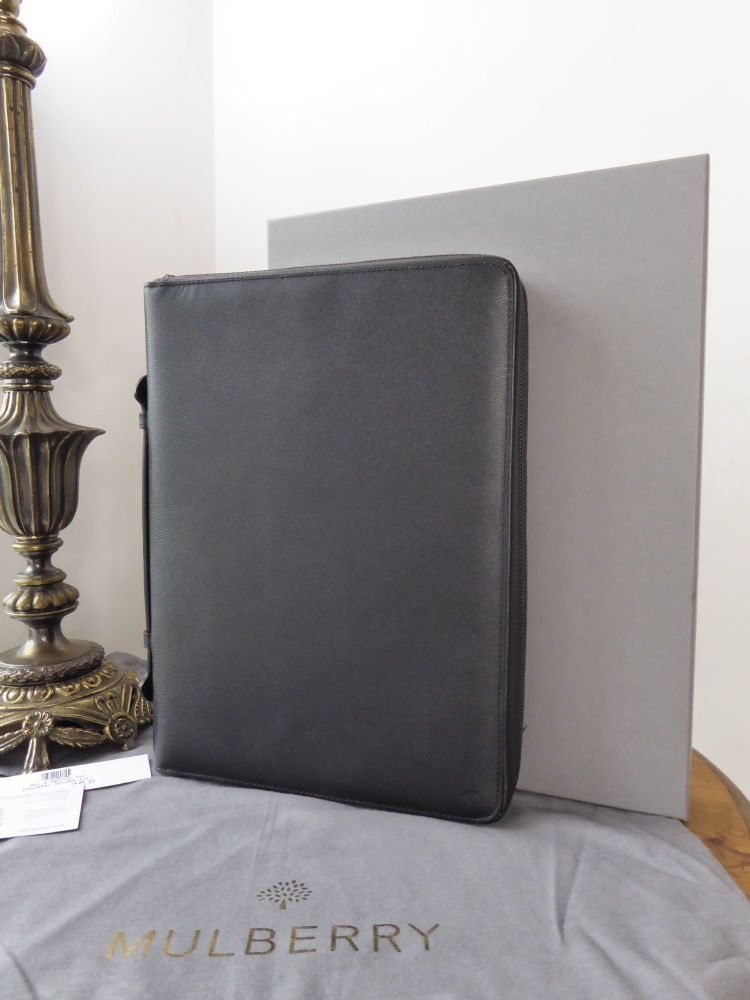 Mulberry Large Zip Around Documents Folio Folder in Black Classic Printed C