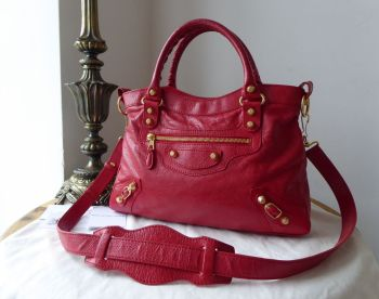 Balenciaga Town in Rouge Cardinal Red with Giant Gold Hardware