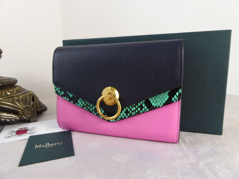 Mulberry Harlow Medium Purse Wallet in Viridian Green, Raspberry Pink & Mid