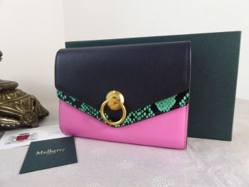 Mulberry Harlow Medium Purse Wallet in Viridian Green, Raspberry Pink & Midnight Silky Calf & Ayers - New