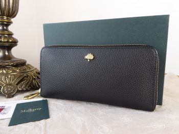 Mulberry Tree Zip Around Long Continental Wallet Purse in Black Small Classic Grain Leather - New