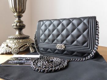 Chanel Boy Wallet on Chain WOC in Black Calfskin with Ruthenium Hardware