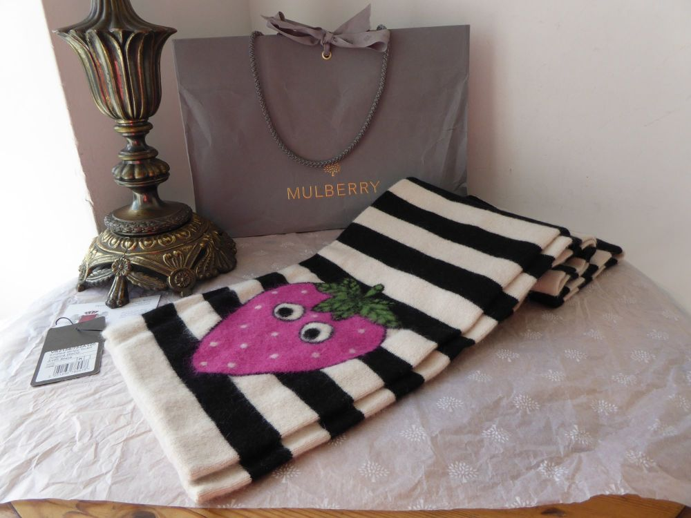 Mulberry Strawberry Face Long Stripey Knitted Winter Scarf in Wool Angora M