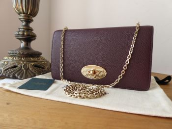 Mulberry Classic Bayswater Shoulder Clutch Wallet on Chain in Oxblood Small Classic Grain - New