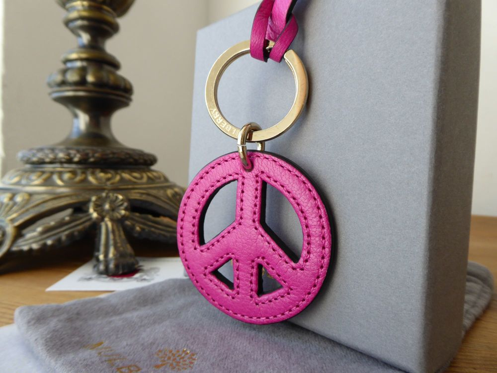 Mulberry Peace & Love Bag Charm in Mulberry Pink Grainy Goat