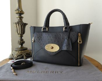 Mulberry Small Willow Tote with Detachable Clutch in Navy Blue Classic Calf & Ostrich Mix
