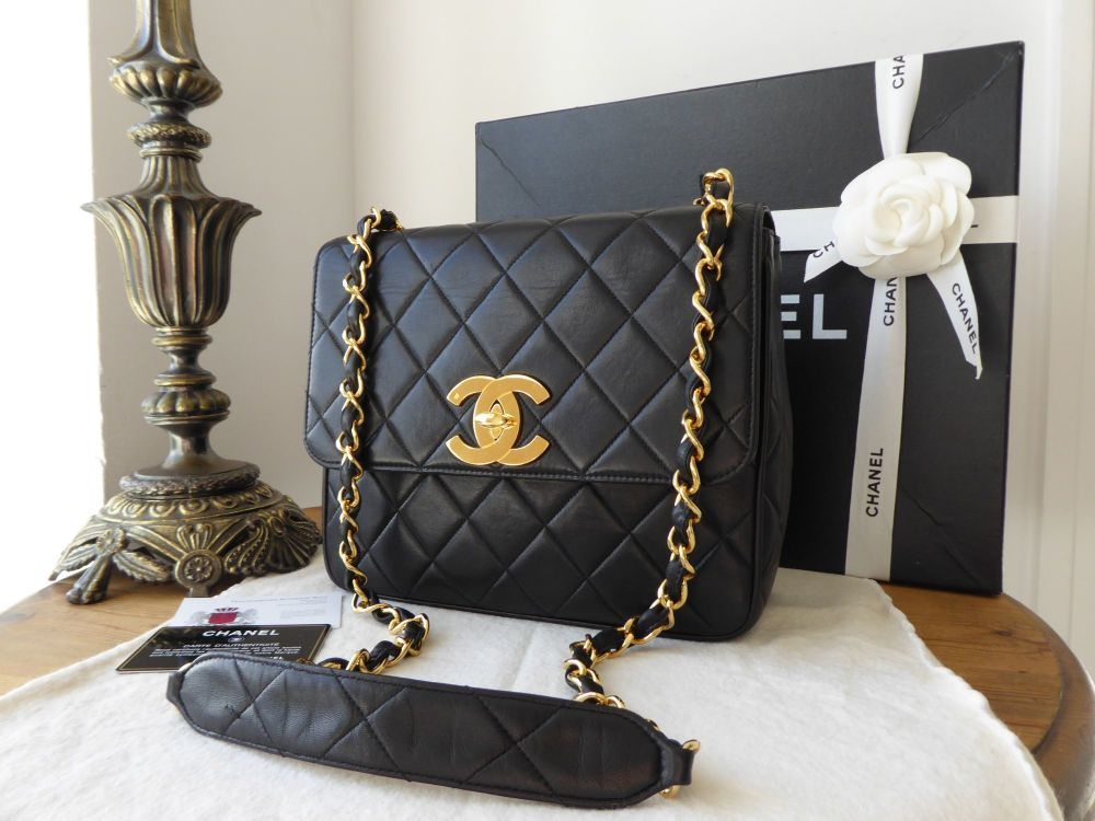 Chanel Vintage Square Flap Bag in Black Lambskin with Gold Hardware