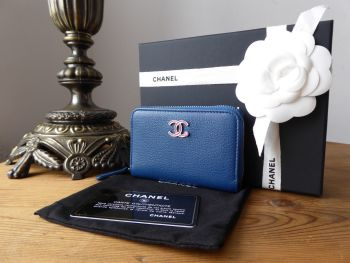 Chanel Lucky Clover Zip Around Compact Coin Card Purse in Vintage Blue Calfskin with Pink Enamel CC Plaque