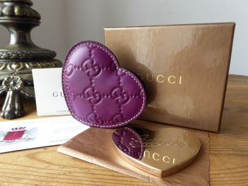Gucci Compact Cosmetic Mirror in Amethyst Purple GG Guccissima Heart Sleeve - SOLD