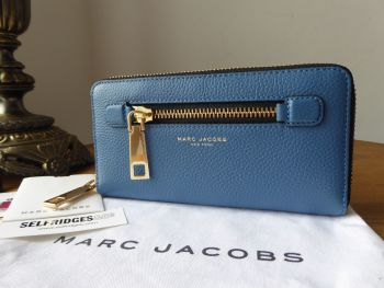 Marc Jacobs Gotham Zip Around Continental Wallet Purse in Vintage Blue Leather - SOLD
